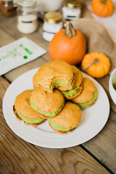 Pumpkin and Matcha Whoopie Pies