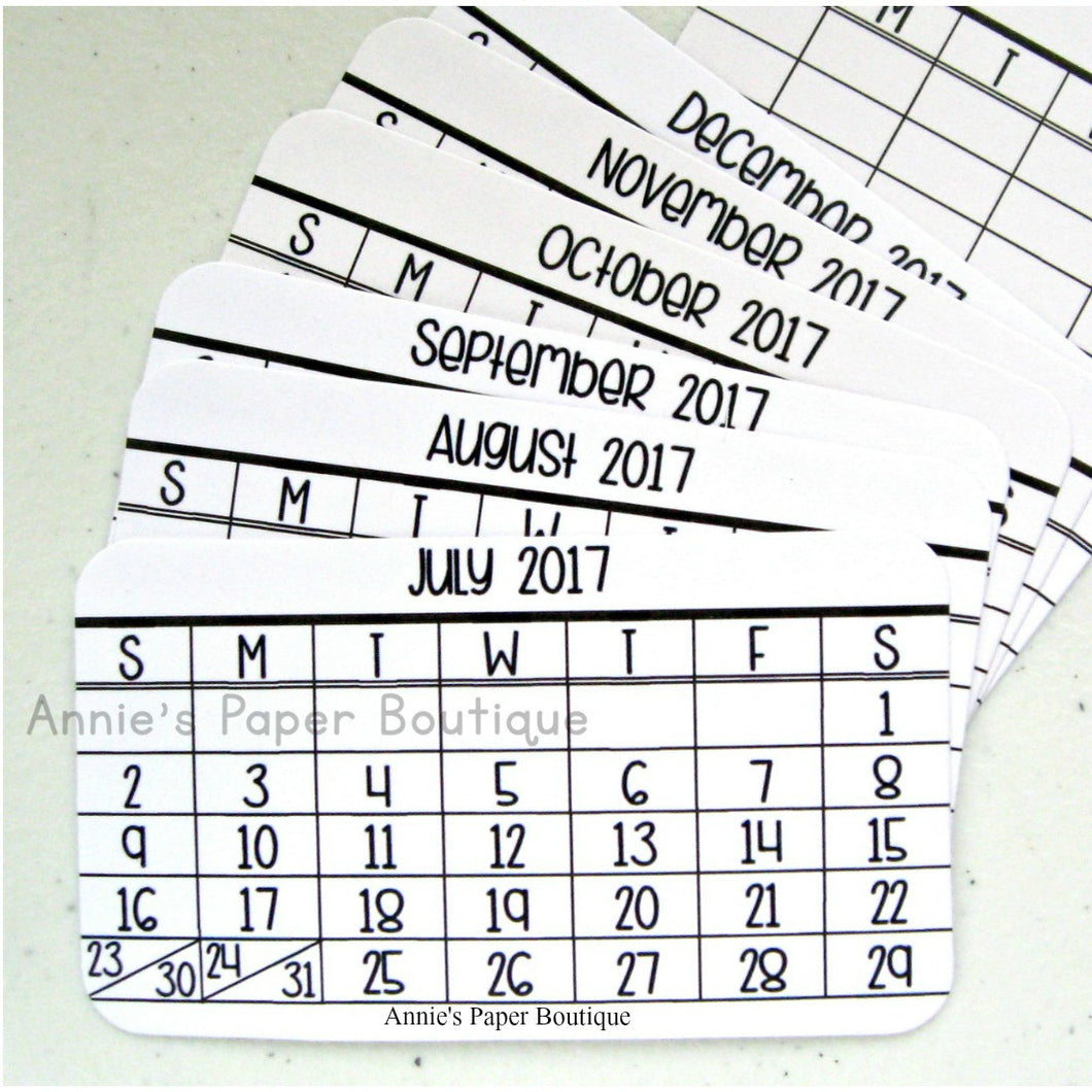 Mini Calendar Cards - July to Dec 2017