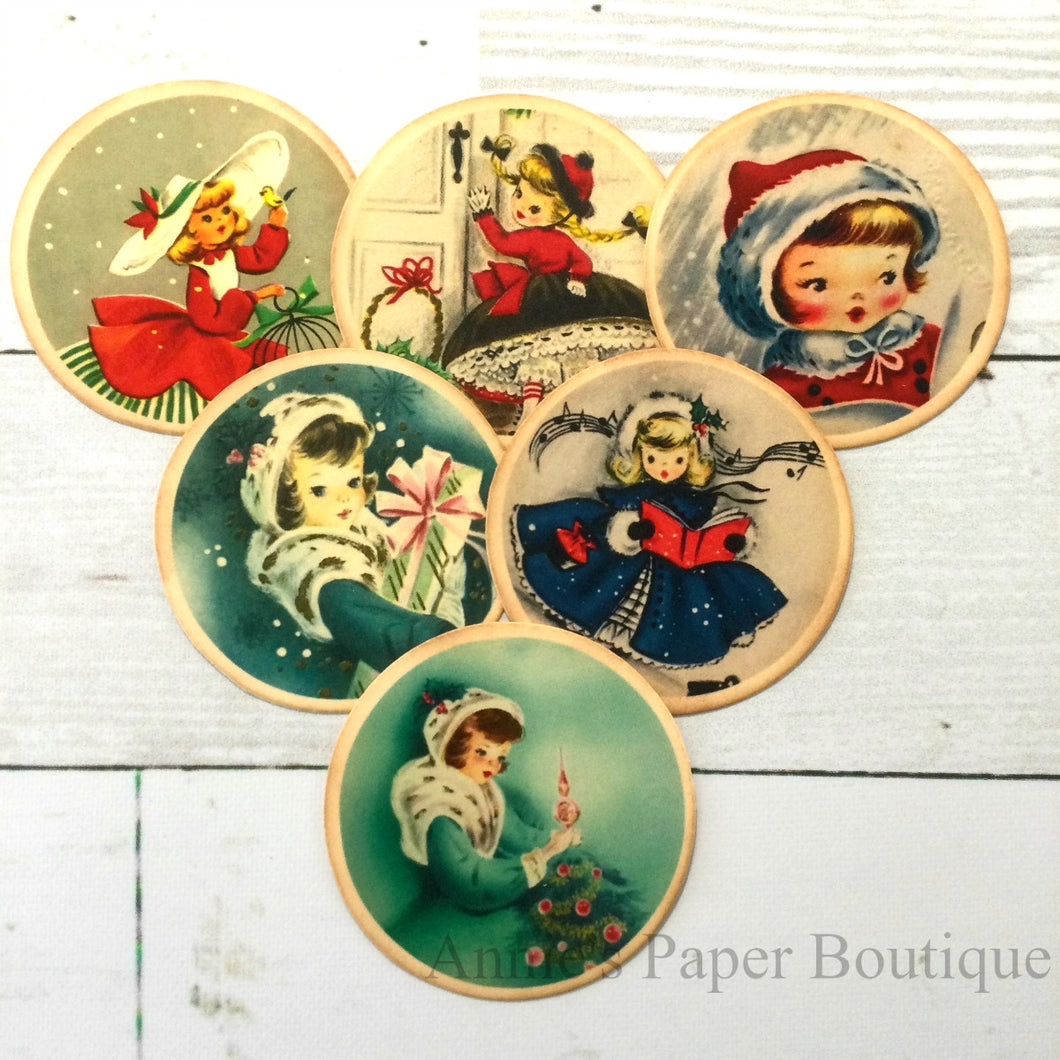 Round Christmas Girls Vintage Inspired Tags - Bundle No.3