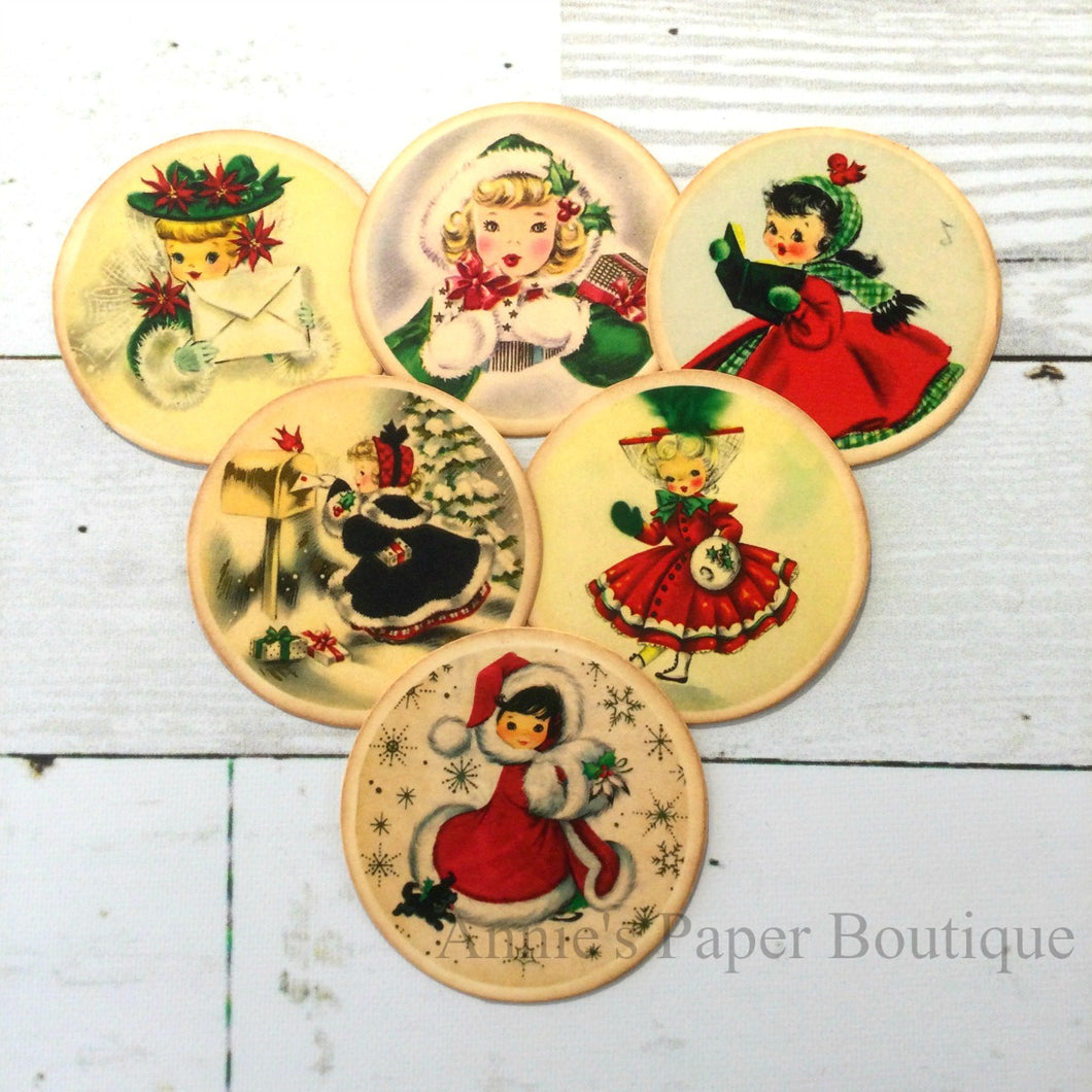 Round Christmas Girls Vintage Inspired Tags - Bundle No.4