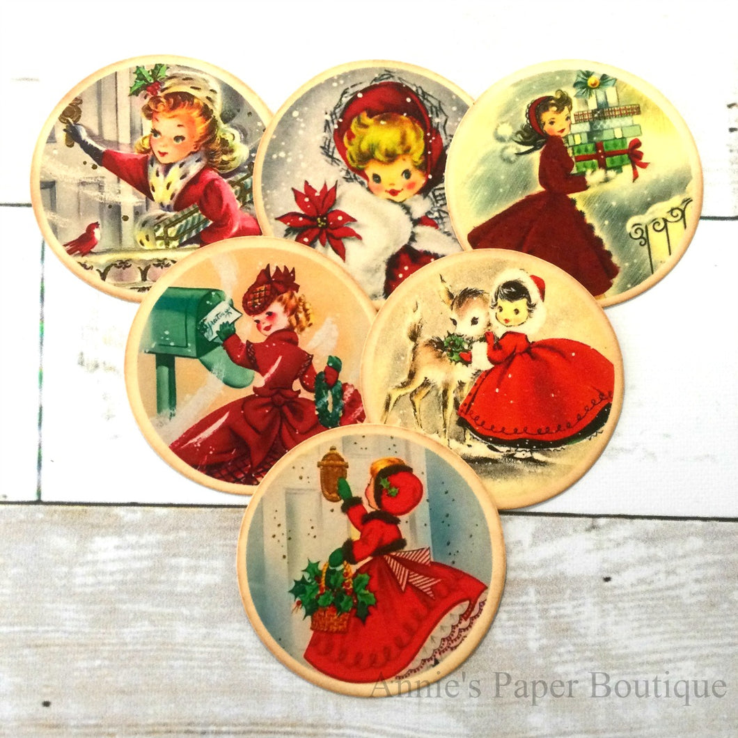 Round Christmas Girls Vintage Inspired Tags - Bundle No.1