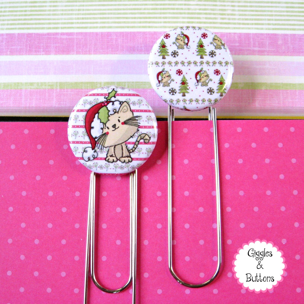 Christmas Kitty Button Paper Clip