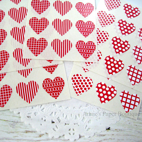 Cranberry Red and White Heart Seals