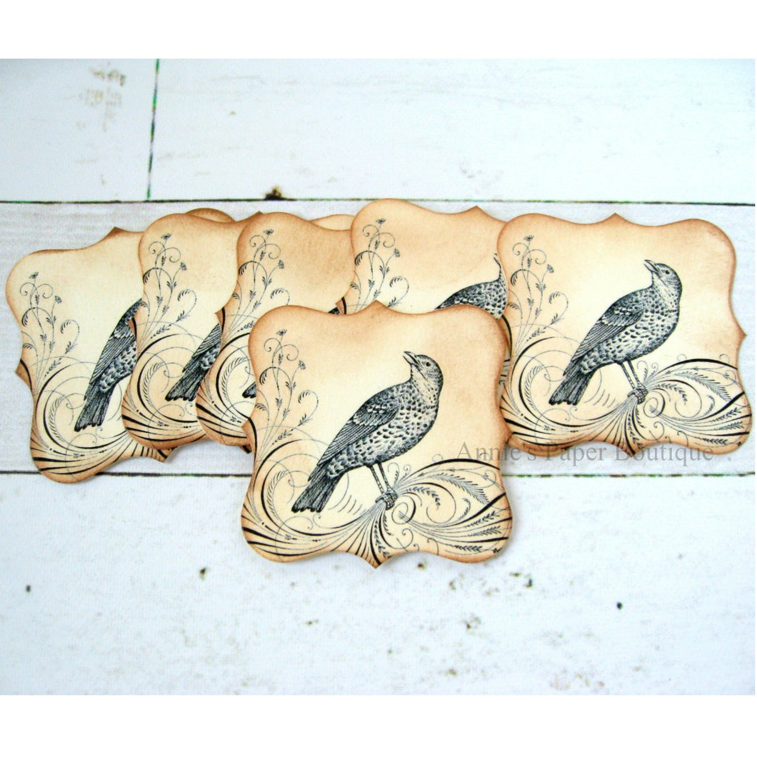 Flourish Bird Bracket Tags with Inked Edges