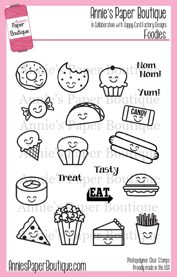 Foodies Planner Stamps - 4x6 - Food, Pizza, Donut, Snacks ...