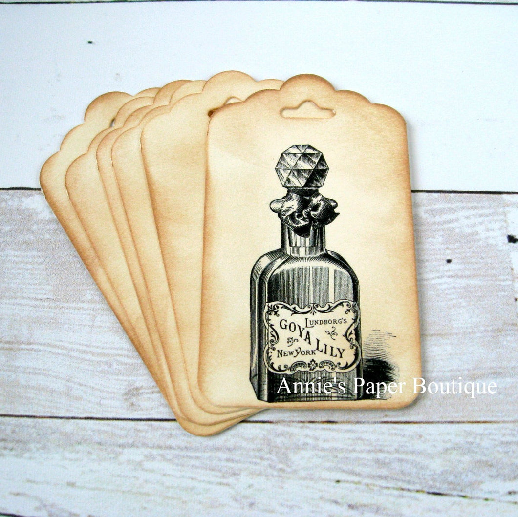 Perfume Bottle Vintage Inspired Tags