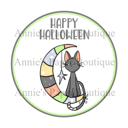 Happy Halloween Cat Print and Punch Tags