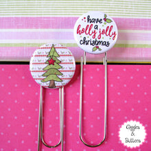 Holly Jolly Christmas Tree Button Paper Clip