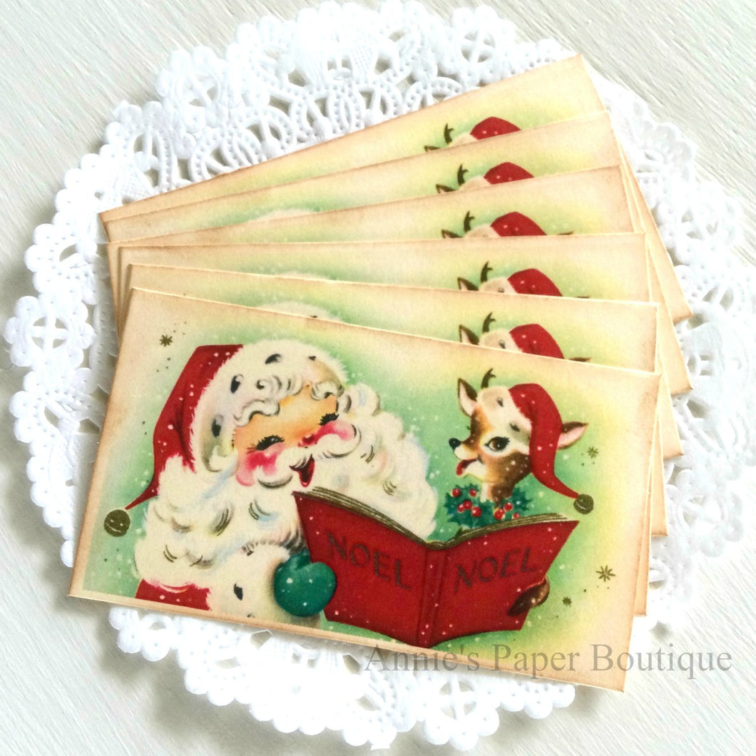 Santa and Reindeer Carolling Vintage Inspired Tags