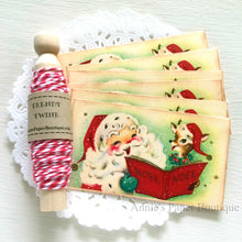 Santa and Reindeer Carolling Vintage Inspired Tags with Berry Trendy Twine