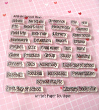 School Days Planner Stamps - 4x4