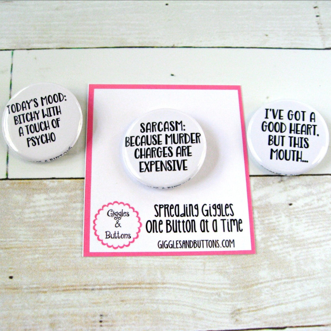 Assorted Snarky Pinback Buttons