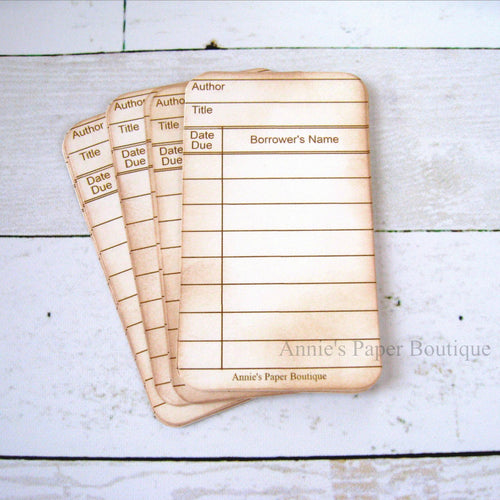 Natural White Mini Library Cards