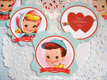 Vintage Valentine Print & Punch Tags - Red and Kraft
