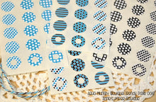 Aqua Blue and Black Trendy Page Dot Reinforcement Stickers
