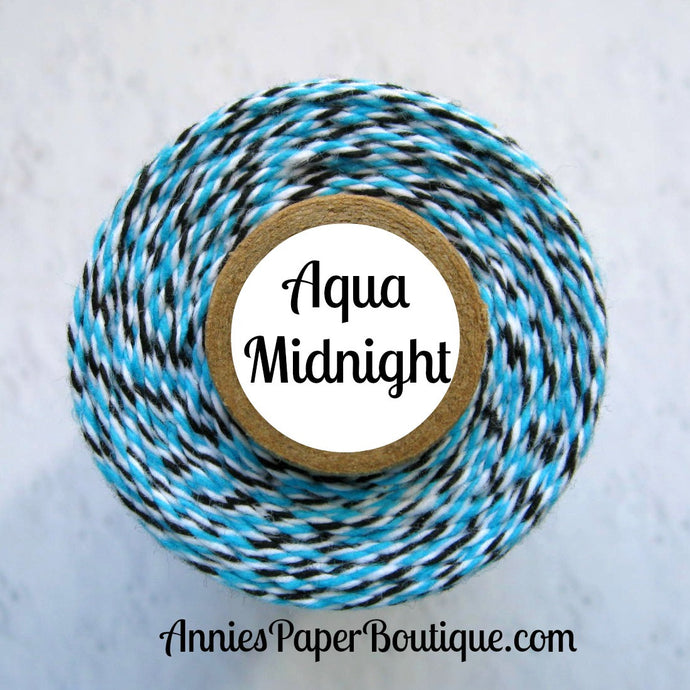 Aqua Midnight Trendy Bakers Twine - Aqua Blue, White, & Black
