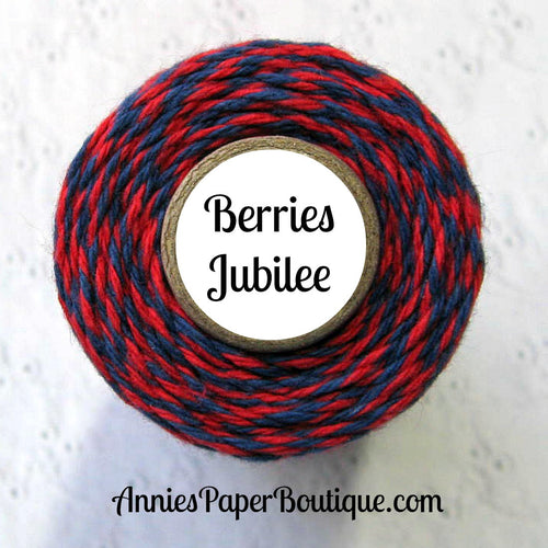 Berries Jubilee Trendy Bakers Twine - Navy Blue & Red