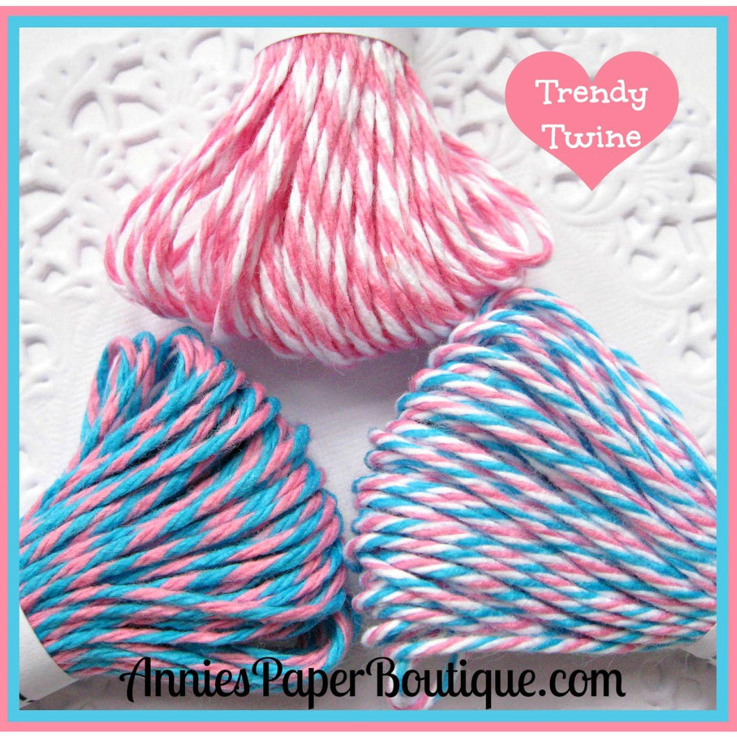Bubblegum Taffy Trendy Bakers Twine Sampler - Pink, White, and Aqua