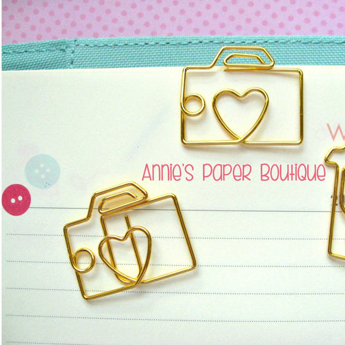 Camera Paper Clips - Gold Planner Clip