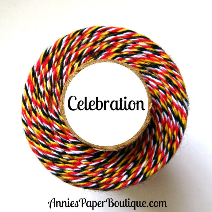 Celebration Trendy Bakers Twine - Red, Yellow, Black, & White