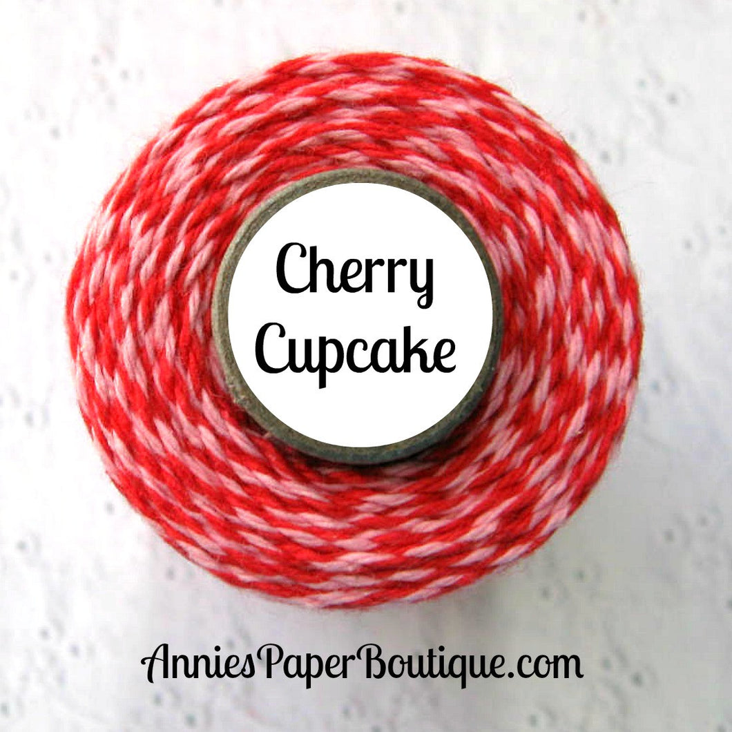 Cherry Cupcake Trendy Bakers Twine - Red & Light Pink - Valentine
