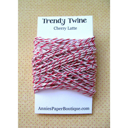 Cherry Latte Trendy Bakers Twine Mini - Red, White, & Kraft Brown, Tan