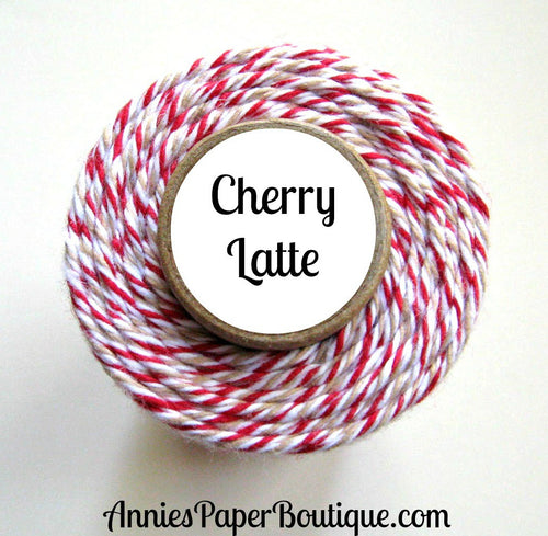 Cherry Latte Trendy Bakers Twine - Red, White & Kraft Brown, Tan