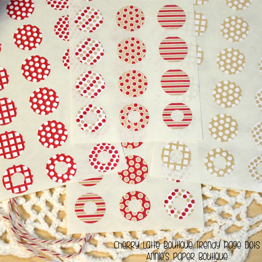 Red and Kraft Trendy Page Dot Reinforcement Stickers