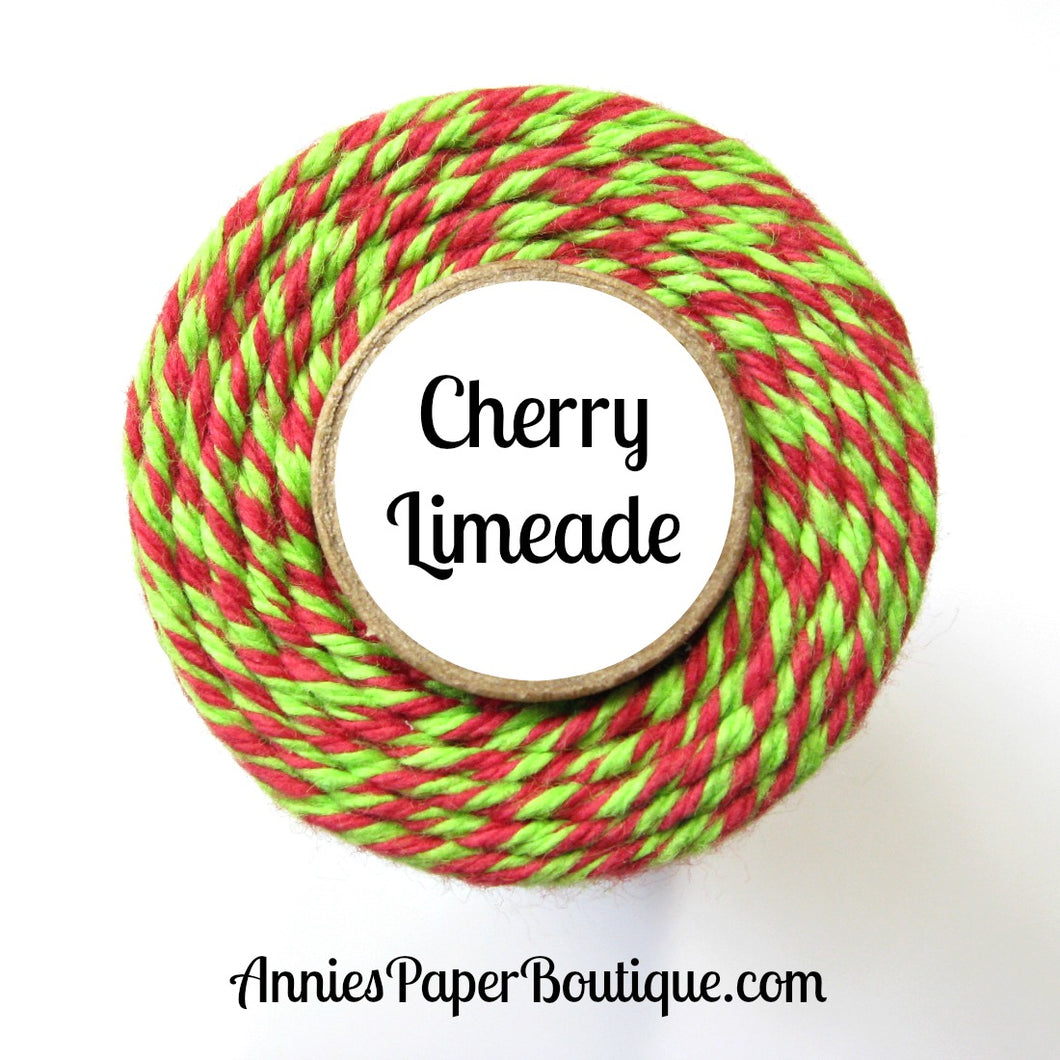 Cherry Limeade Trendy Bakers Twine - Red & Lime Green - Christmas, Holiday