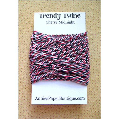 Cherry Midnight Trendy Bakers Twine Mini - Red, White, and Black