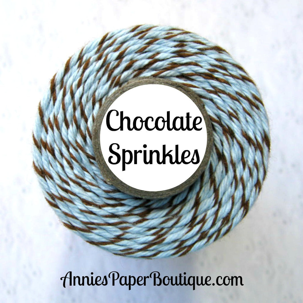 Chocolate Sprinkles Trendy Bakers Twine - Soft Blue & Brown