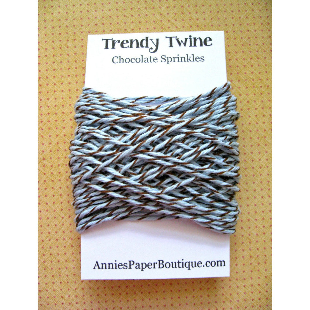 Chocolate Sprinkles Trendy Bakers Twine Mini - Soft Blue & Brown