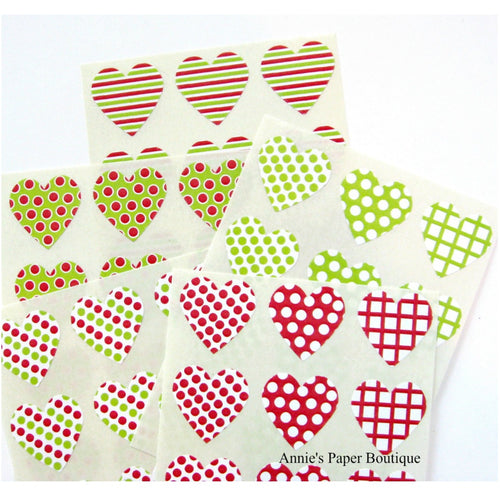 Christmas Mint Trendy Heart Seals