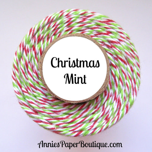 Christmas Mint Trendy Bakers Twine - Red, White, & Lime Green - Holiday