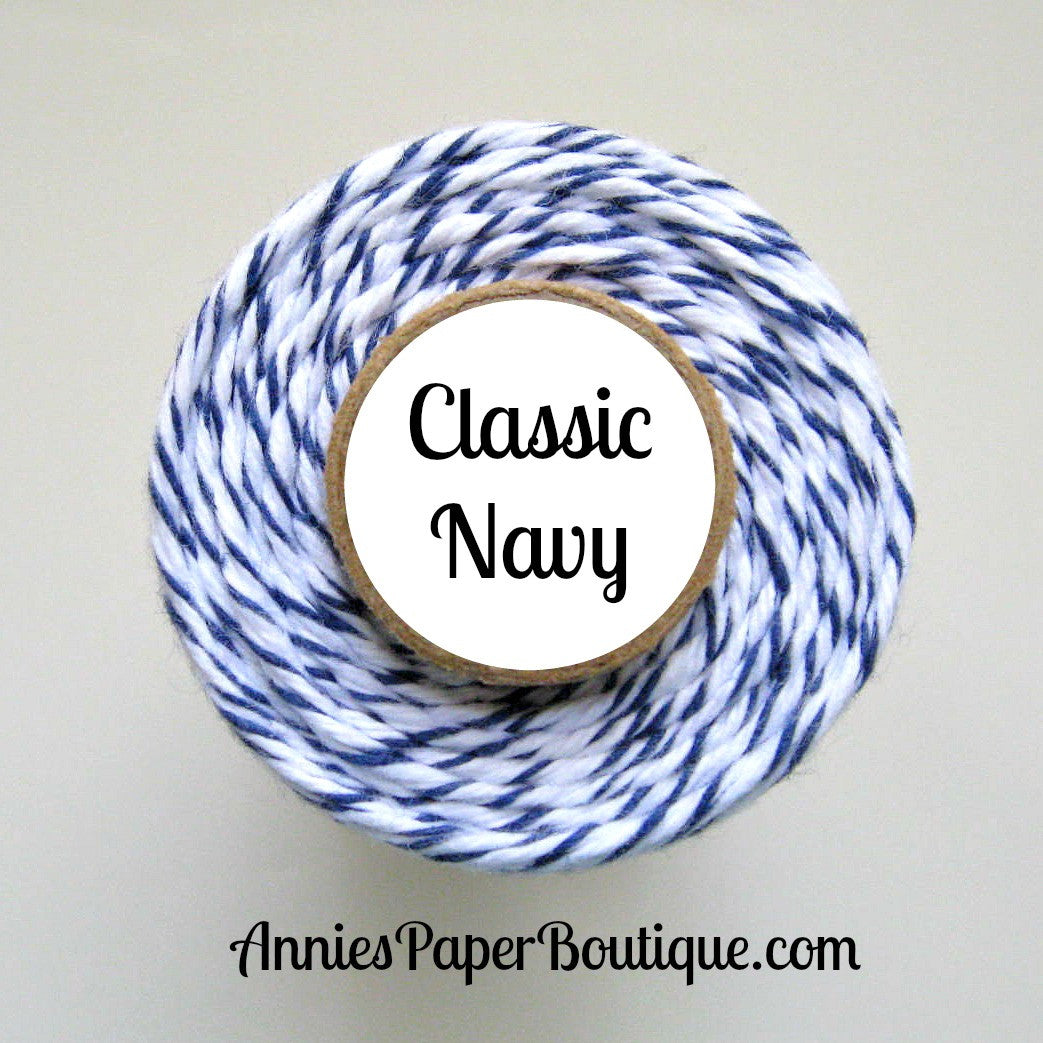 Classic Navy Trendy Bakers Twine - Navy Blue & White