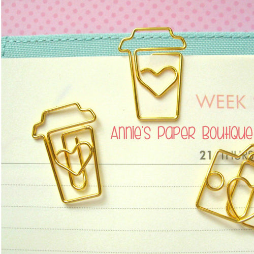 Coffee Paper Clips - Gold Planner Clip