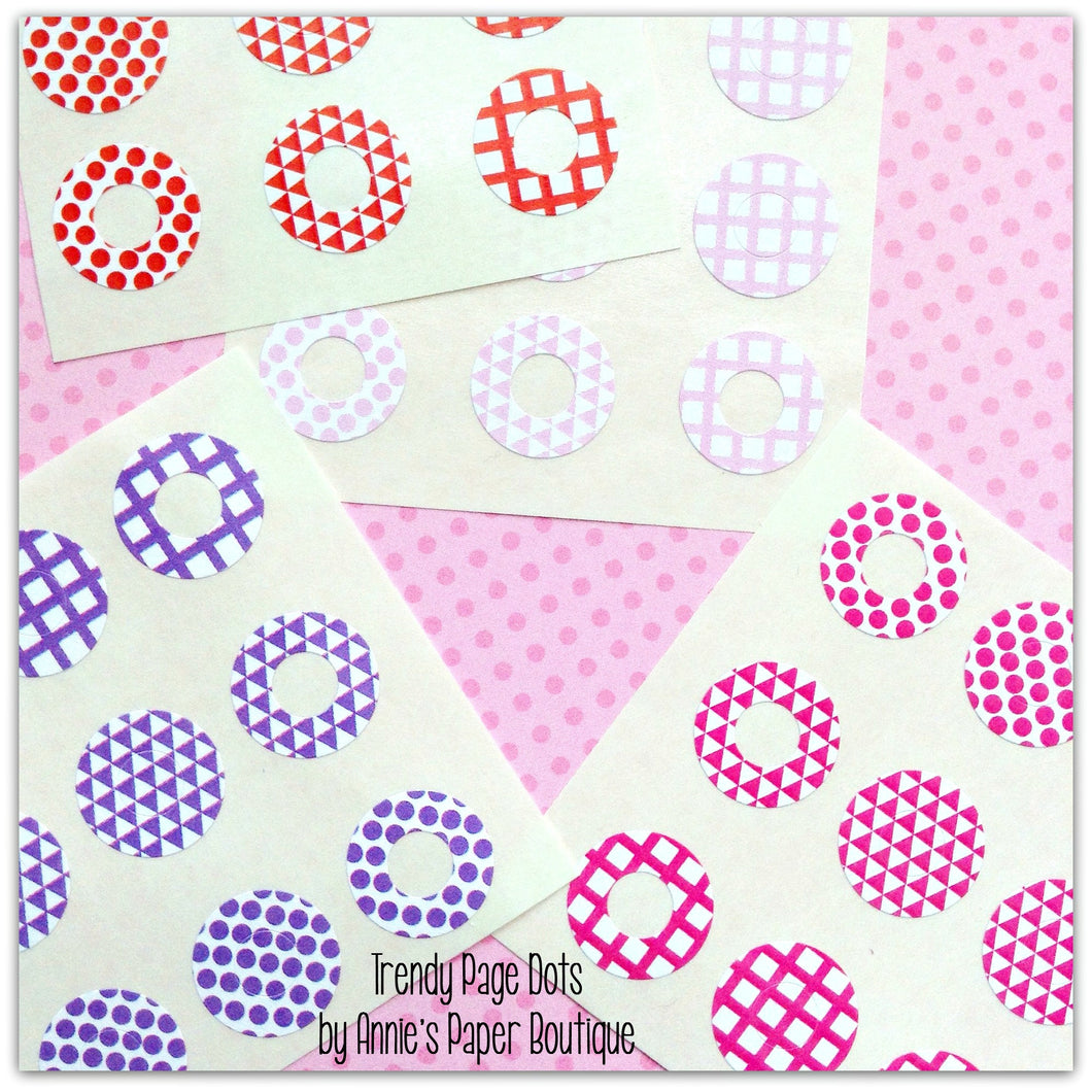 Color Me Happy Trendy Page Dots™ - Pink, Purple, & Red - Hole Reinforcers, Planner Stickers