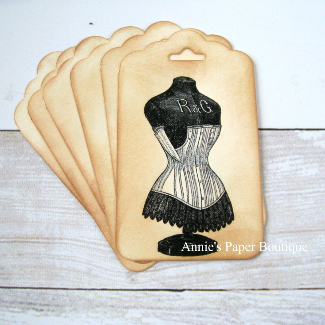 Corset Dress Form Vintage Inspired Tags