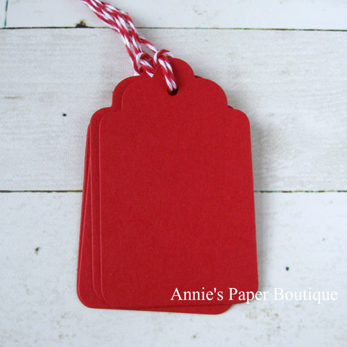 Cranberry Scallop Tags with Cranberry Trendy Twine