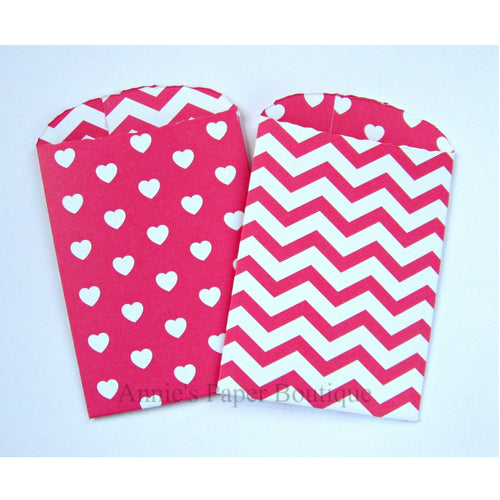 Dark Pink Hearts & Chevron Paper Pockets
