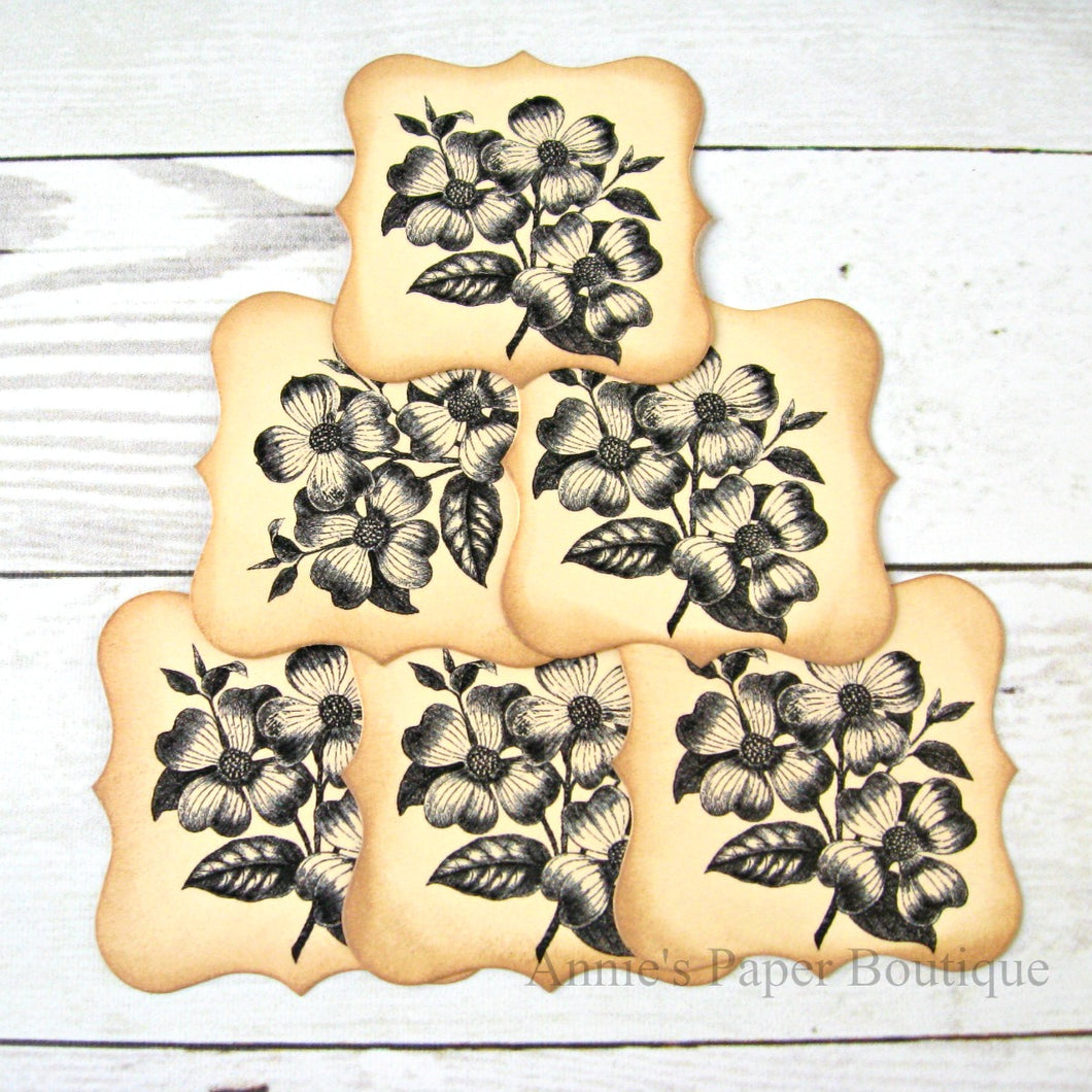 Dogwood Flowers vintage inspired tags