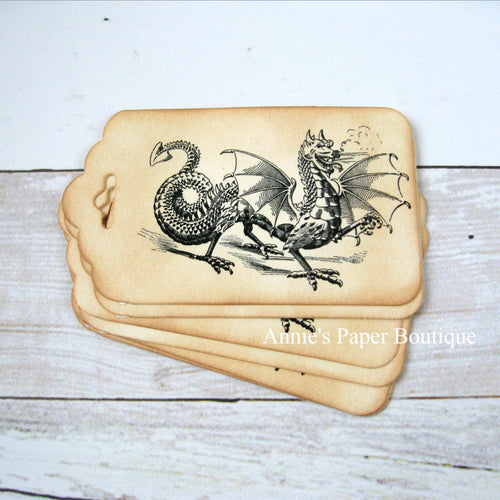 Dragon Vintage Inspired Tags