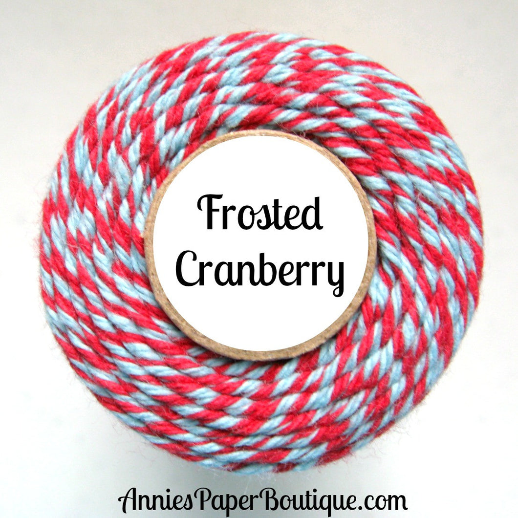 Frosted Cranberry Trendy Bakers Twine - Red & Light Blue - Christmas, Holiday