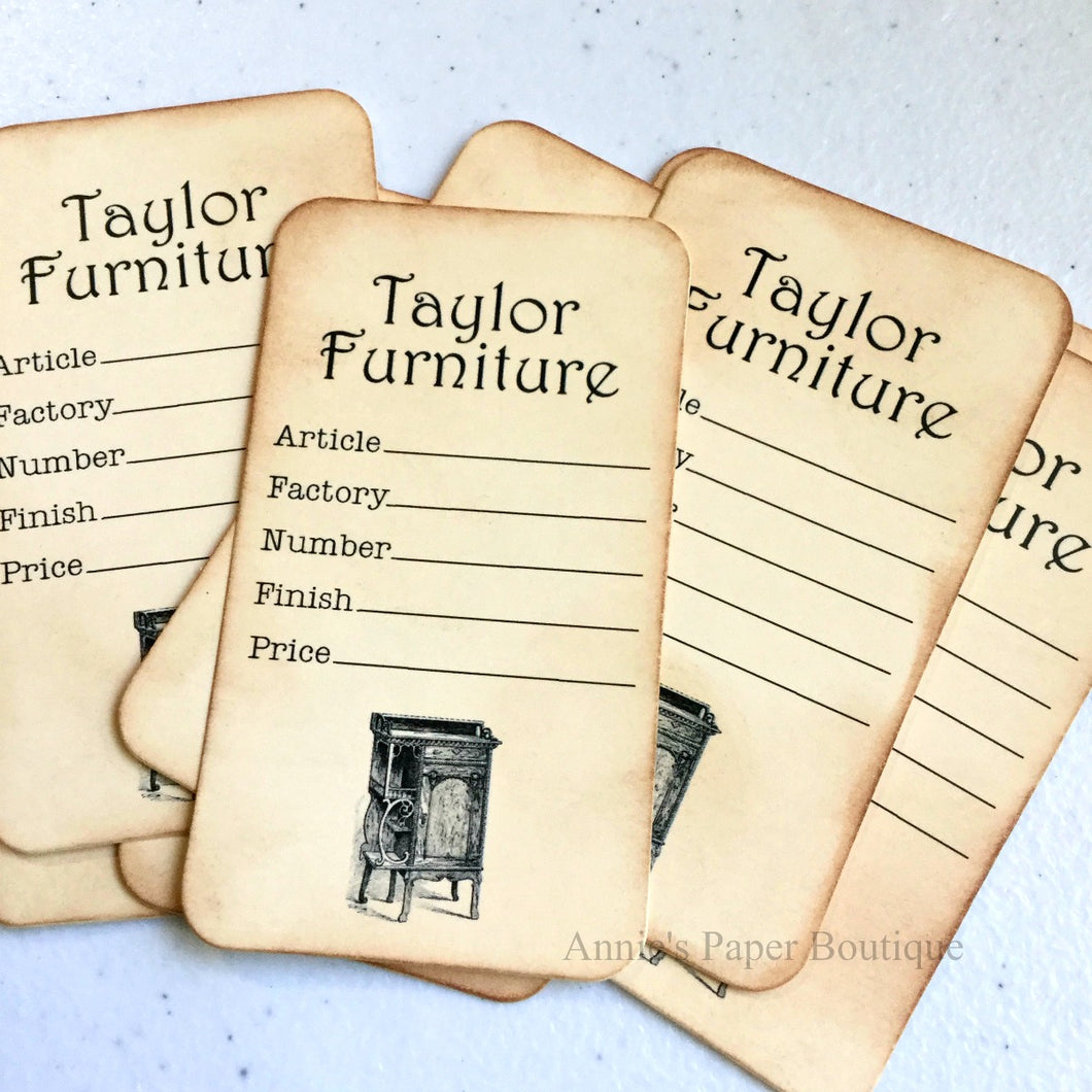Furniture Vintage Inspired Price Tags