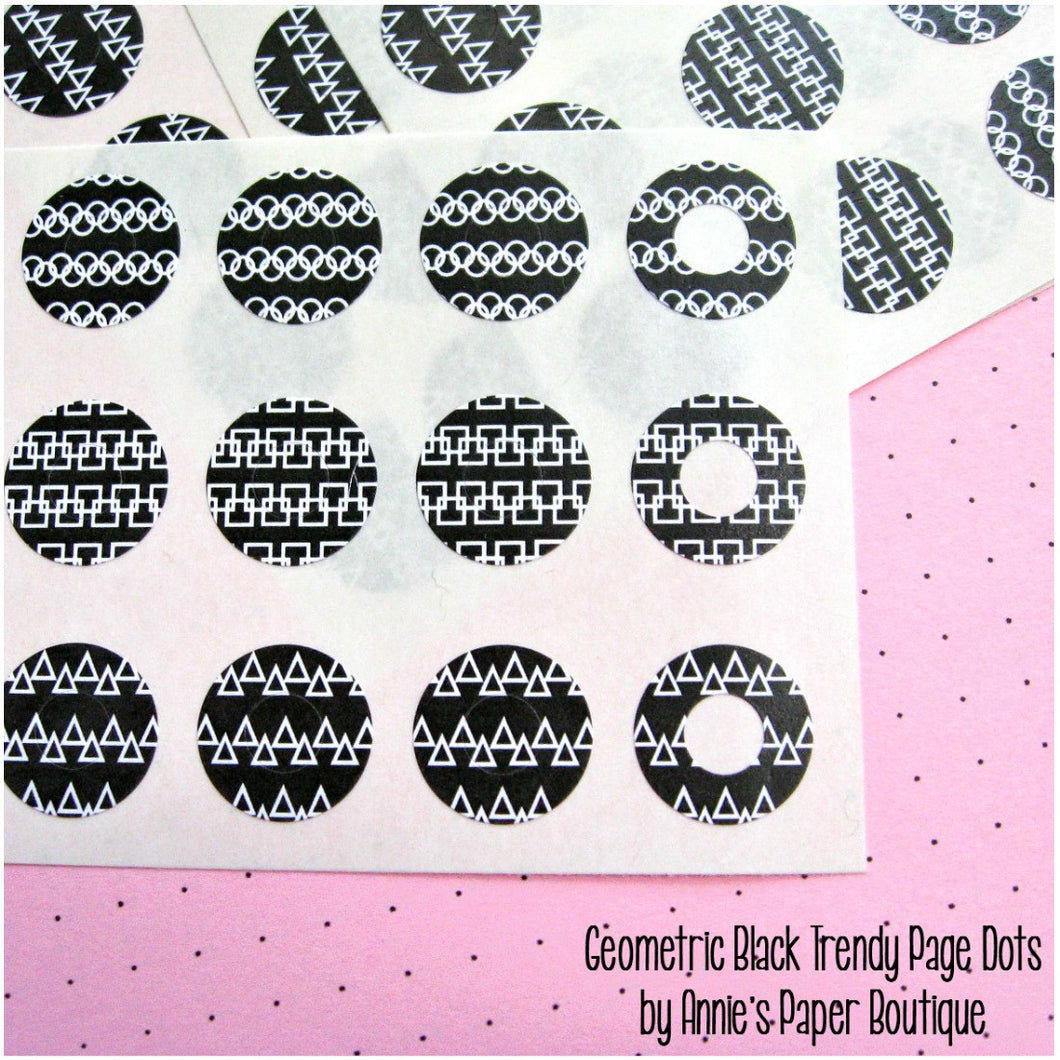 Geometric Black Trendy Page Dots™