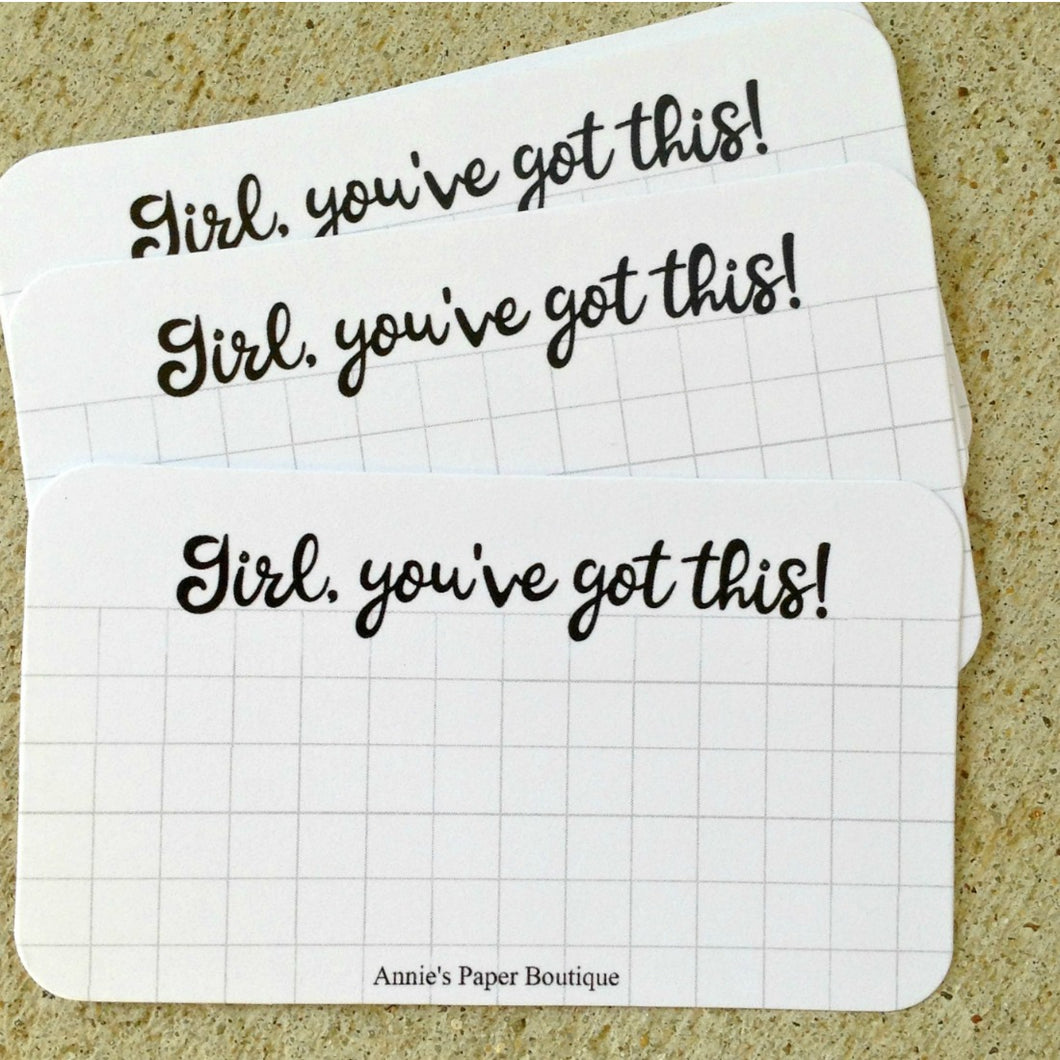 Girl, You've Got This mini note cards