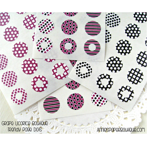 Grape Licorice Trendy Page Dots™ - Purple and Black Reinforcement Stickers
