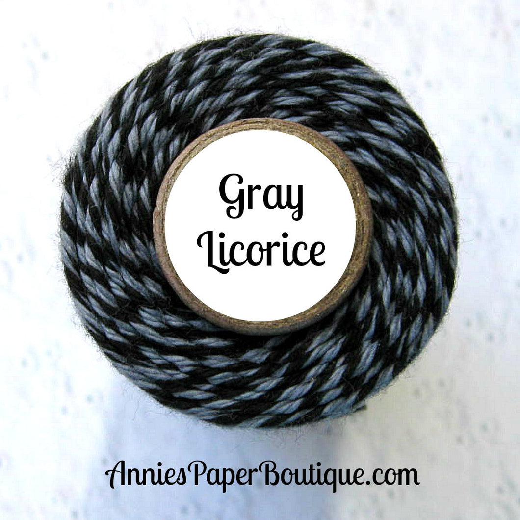 Gray Licorice Trendy Bakers Twine - Black & Gray