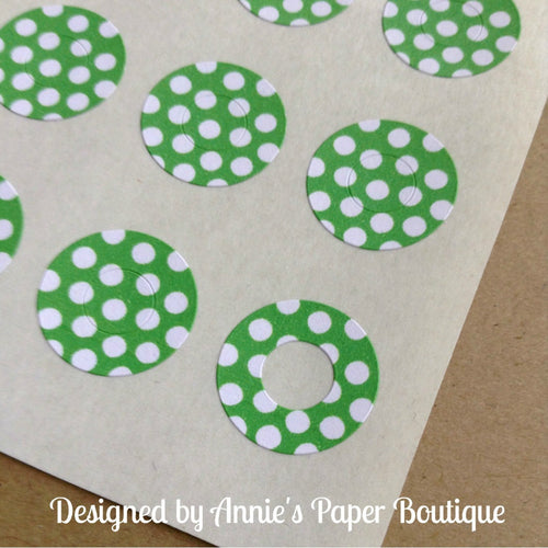 Green & White Polka Dots Trendy Page Dots™ - Hole Reinforcers, Planner Stickers