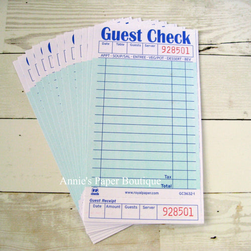 Green Guest Checks